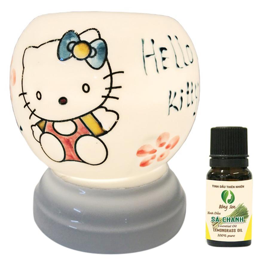 Đèn Xông Tinh Dầu Gốm Bát Tràng Hello Kitty - Tặng 01 Lọ Tinh Dầu Sả Chanh (10ml) - Hàng Chính Hãng