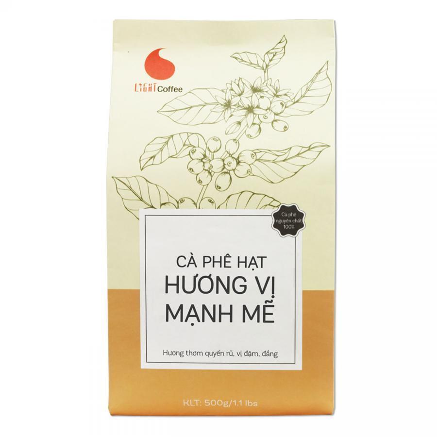 Cà Phê Hạt Rang Nguyên Chất 100% Light Coffee Hương Vị Mạnh Mẽ (500g)