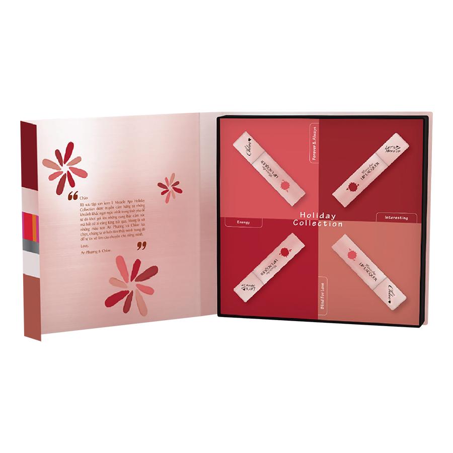 Hộp quà 4 cây son kem lì Lip Lacquer Matte Holiday Collection RMV-MA18-LM-HC-Giftbox - Phiên bản giới hạn