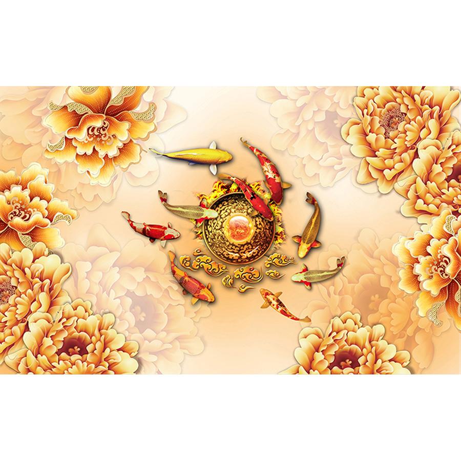 Tranh dán tường 3d | Tranh dán tường phong thủy hoa sen cá chép 3d 103