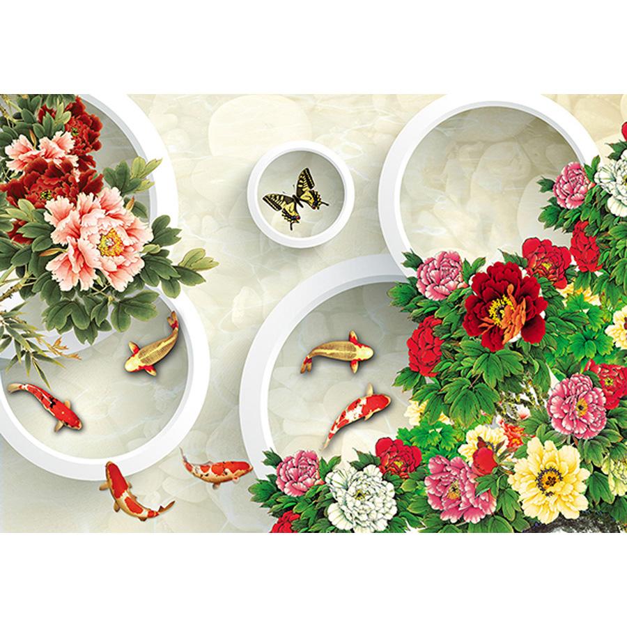 Tranh dán tường 3d | Tranh dán tường phong thủy hoa sen cá chép 3d 117