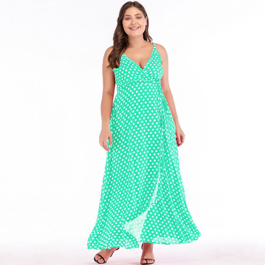 Sexy Women Maxi Dress Dot Print High Split Spaghetti Strap Deep V Neck Sundress Beach Long Dress