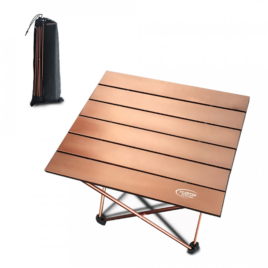 Portable Folding Table Ultralight Aluminium Alloy Outdoor Camping Picnic Table Desk - Coffee (Size S)