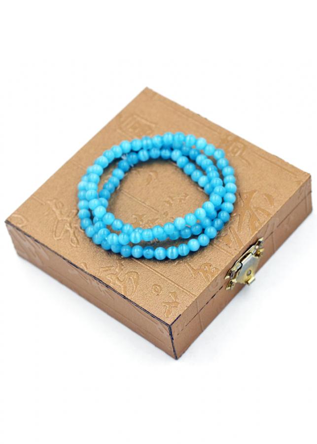 Chuỗi tay 108 hạt mắt mèo xanh ngọc kèm hộp gỗ