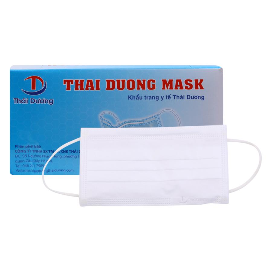 Khẩu Trang Y Tế Thai Duong Mask 3 Lớp Kháng Khuẩn Màu Trắng (50 Cái)