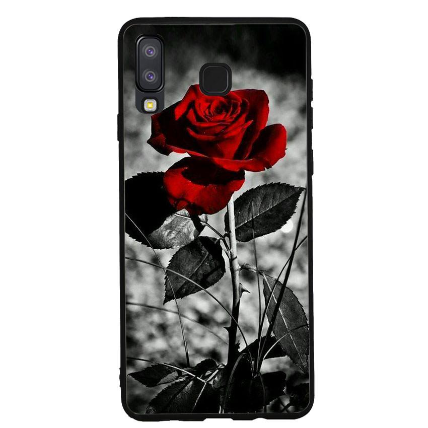 Ốp lưng viền TPU cho điện thoại Samsung Galaxy A8 Star -Rose 08