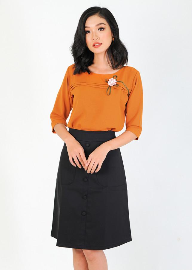 Áo công sở thời trang Eden tay lỡ viền hoa - ASM017