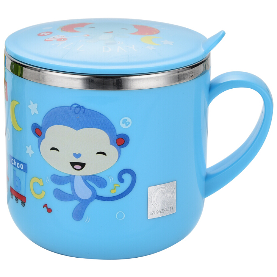 The United States Fisher-Price  baby warm water cup baby single handle training drink cup with lid 270ML blue