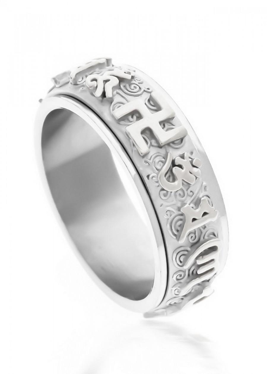 Nhẫn xoay 360 độ khắc chú úm mani bát minh hồng - trắng