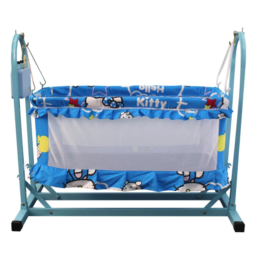 Nôi Võng tự động cho bé 2 trong 1 VINANOI - NV35X lồng nôi màu xanh