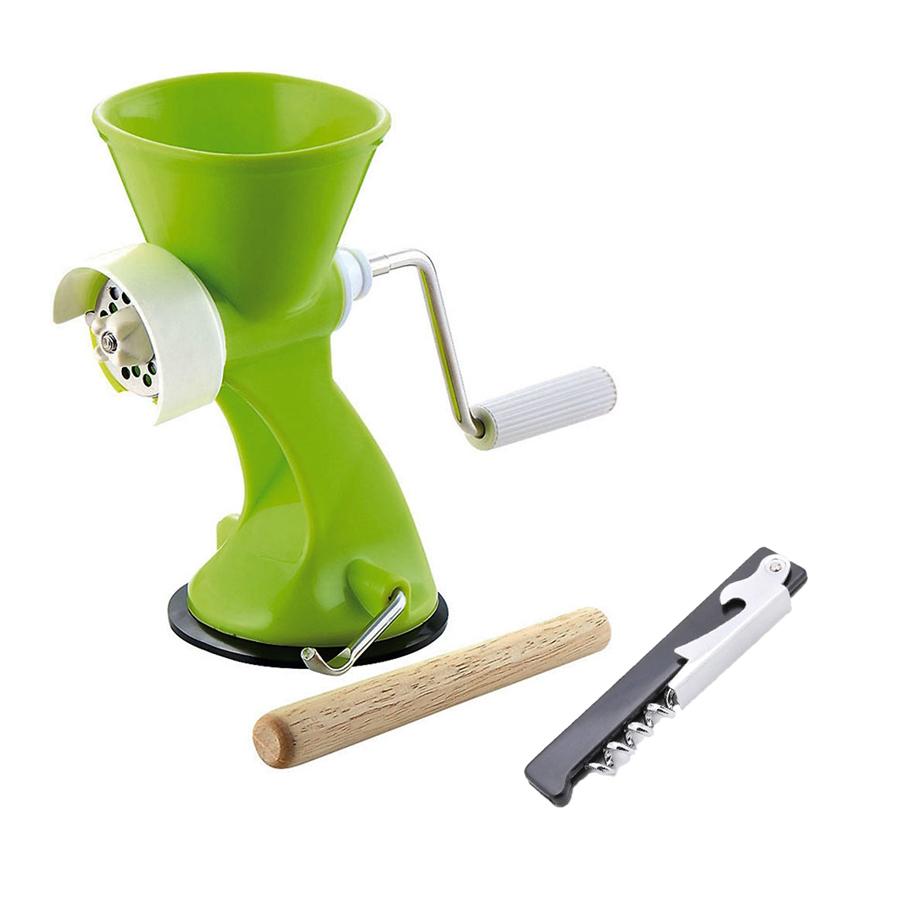Combo máy xay thịt cầm tay Vegetable Club + dụng cụ mở nắp chai đa năng Echo Metal