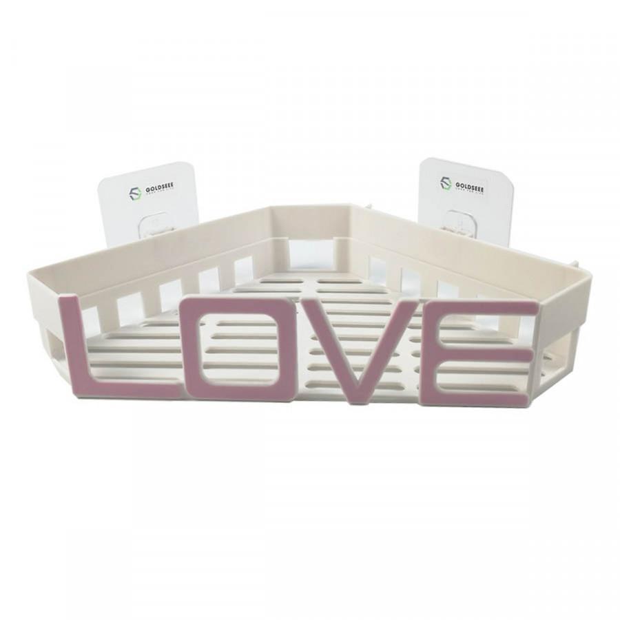 Kệ góc nhà tắm cách điệu chữ LOVE sử dụng miếng dán cường lực