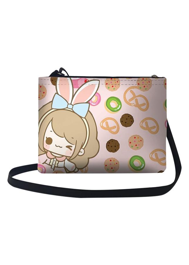 Túi Đeo Chéo Nữ In Hình Cô Gái Tai Thỏ Và Nền Bánh - TUCT210 (24 x 17 cm)