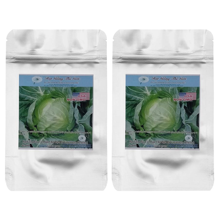 Bộ 2 Túi Hạt Giống Bắp Cải - Quận Chặt Đậm Đà Copenhagen (Brassica Oleracea Var. Capitata) (1g x 2)