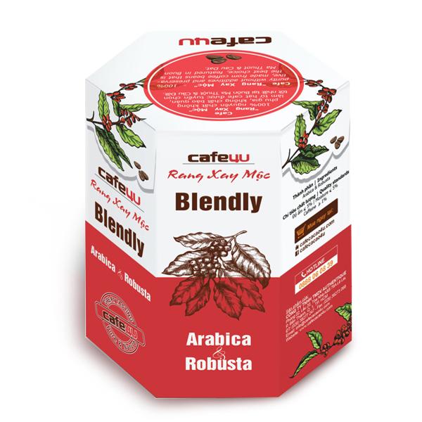Café rang xay mộc nguyên chất - Arabica+Robusta - Cafe4U Blendly Hộp 250gr