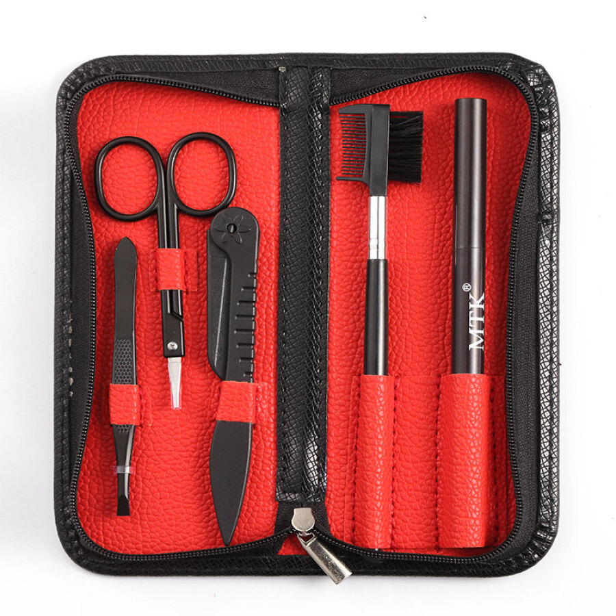 For the TXM-3001 black zipper leather case red lining eyebrow knife eyebrow scissors dice eyebrow pencil set 5 sets
