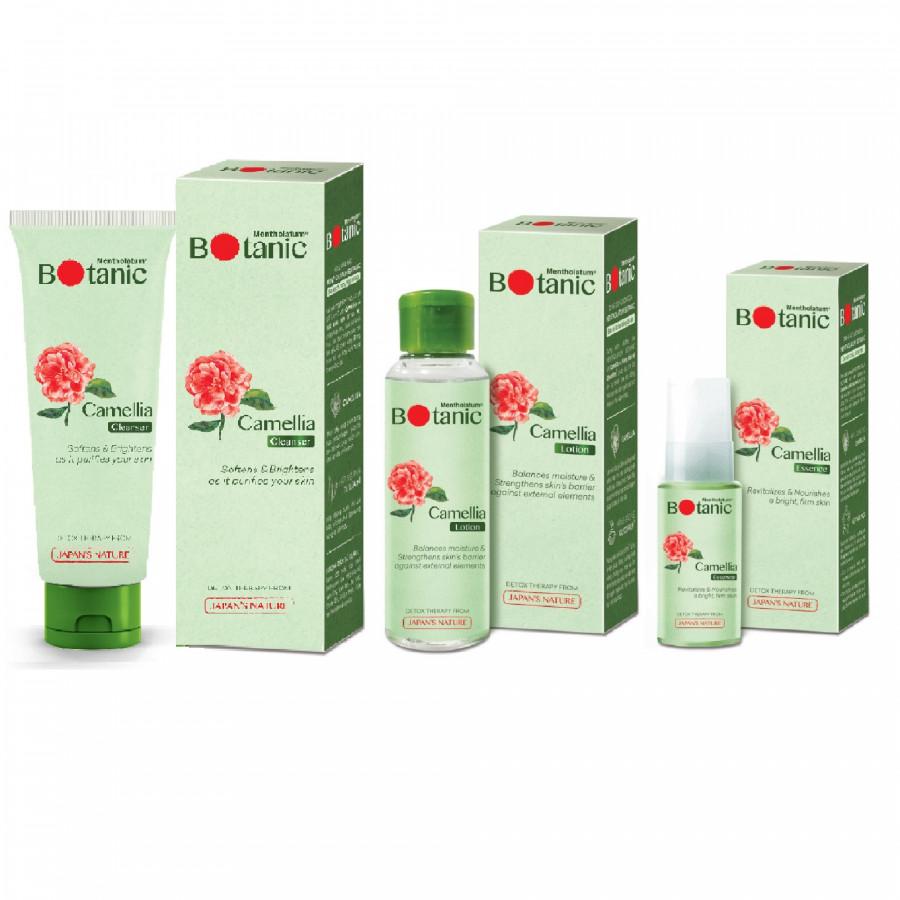 Bộ sản phẩm thanh lọc da sáng khỏe Mentholatum Botanic (Gel rửa mặt 80g + Dung dịch dưỡng 100ml + Tinh chất dưỡng 30g)