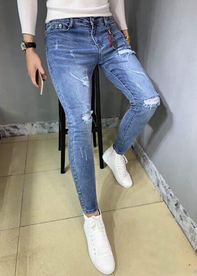 Quần jean dài nam xanh waash rách phong cách -B30