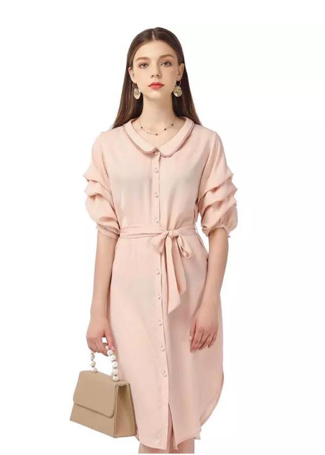 Đầm Nữ Voan Lụa Thắt Nơ DRESS656 - Cam Nhạt