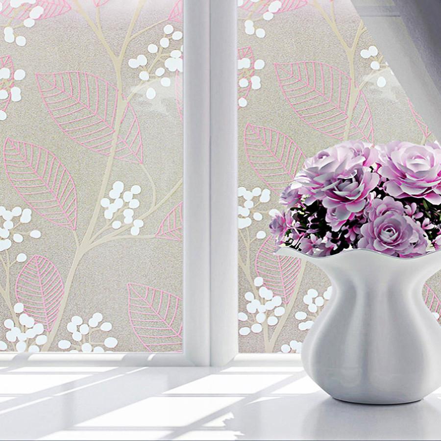 3m decal dán kính ngang 60cm- hoa lá hồng