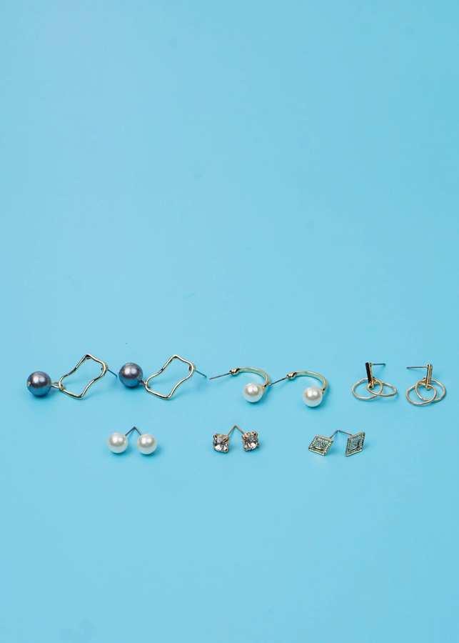 Bông Tai Set 6 Đôi Nửa Hình Tròn Đính Ngọc Trai Mạ Vàng - Mã HT008