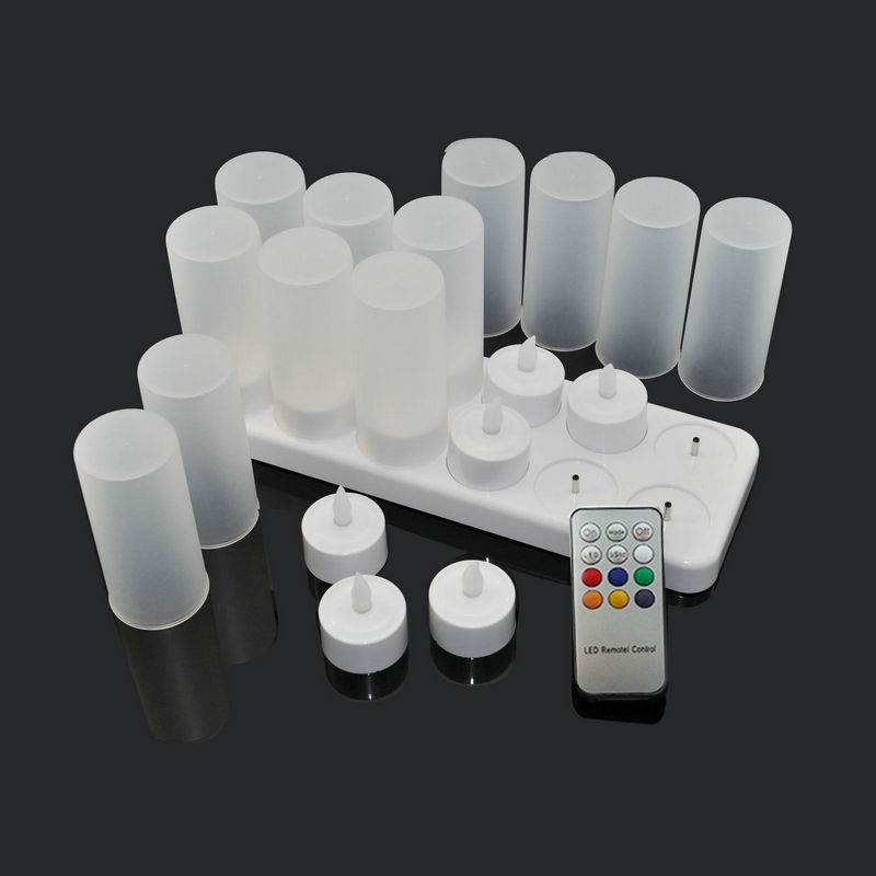 Set of 12 Rechargeable LED Color Changing Flickering Flameless Tealight Candles Lights with Remote Control Frosted Cups