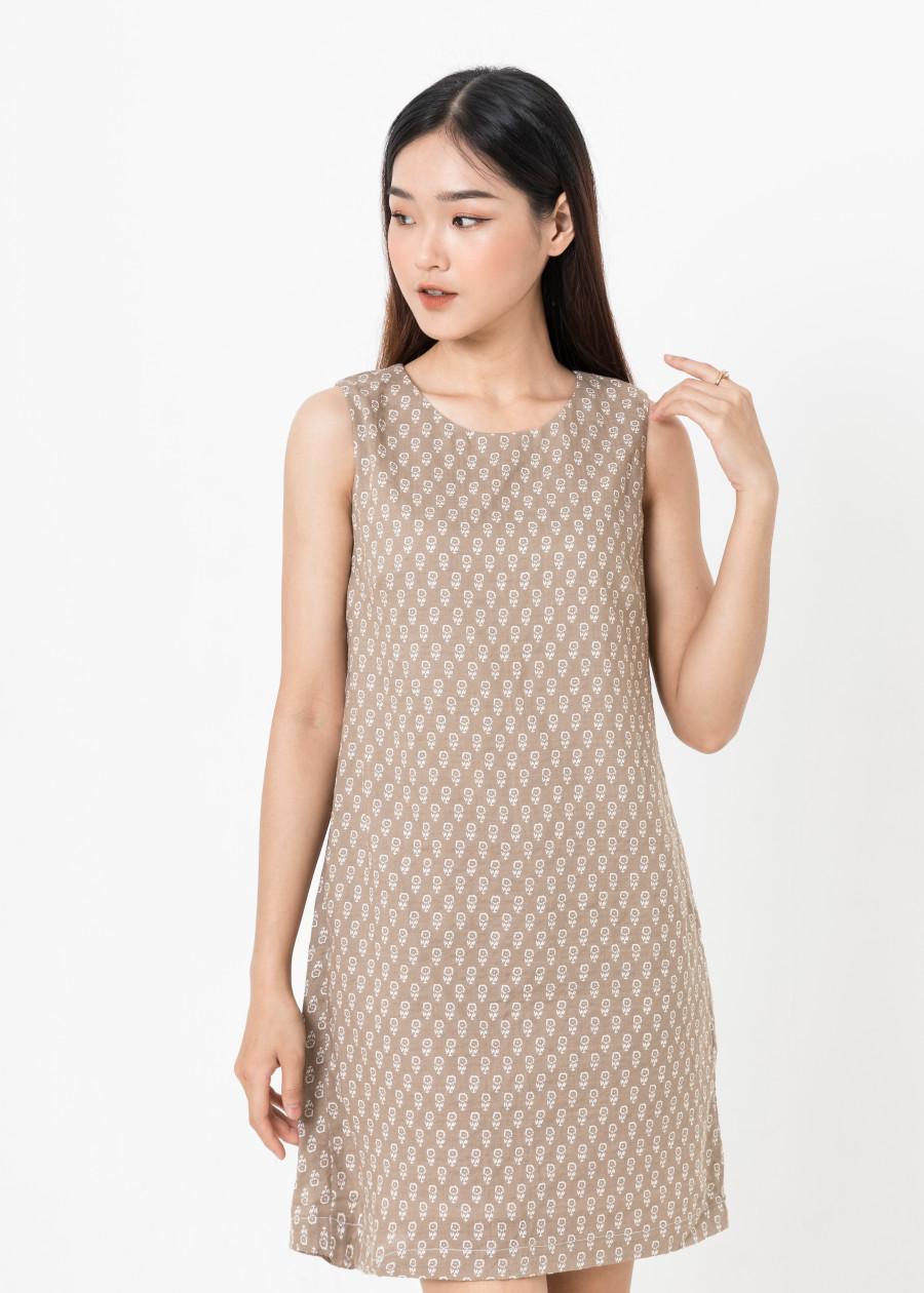 Đầm Suông Nhún Lưng - Nâu