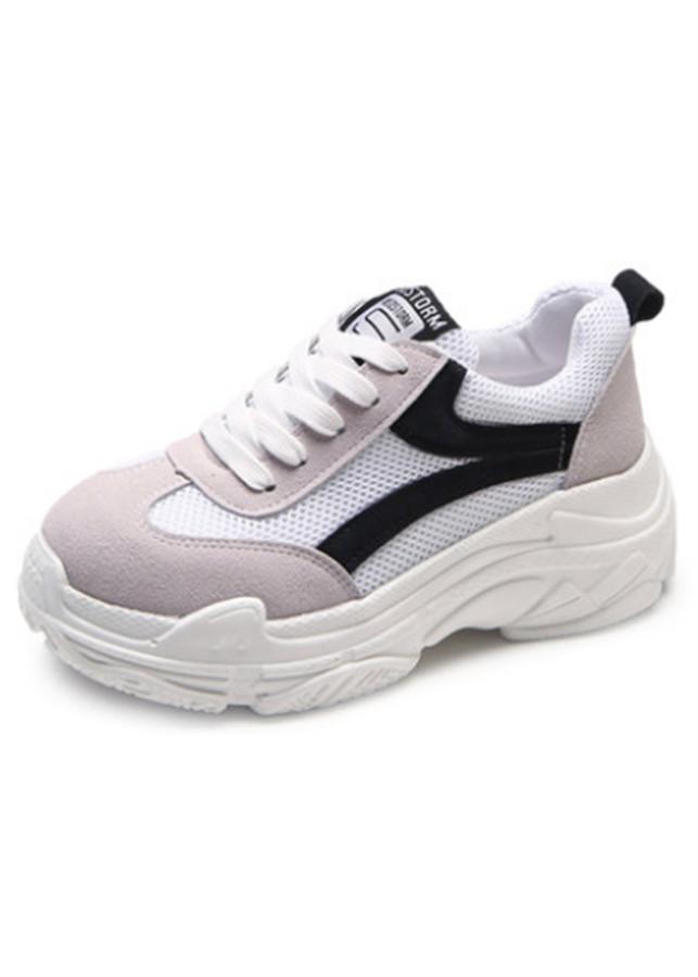 Giày Sneaker Nữ Tăng Chiều Cao Trắng Đỏ Cột Dây Thời Trang