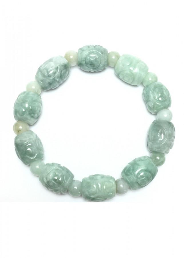 Vòng Lu thống đá cẩm thạch trắng phớt xanh NEJA Gemstones