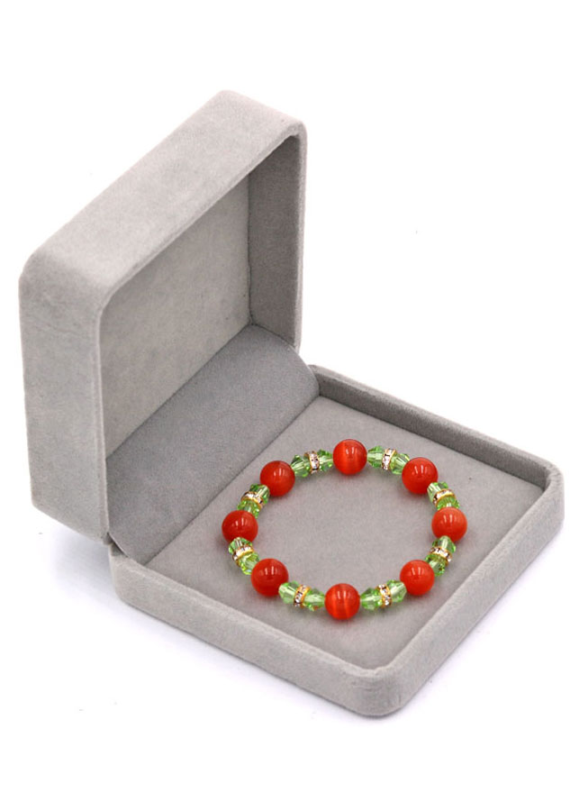 Vòng đeo tay chuỗi hạt đá mắt mèo đỏ FTMOX16 kèm hộp nhung