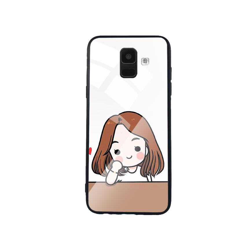 Ốp Lưng Kính Cường Lực cho điện thoại Samsung Galaxy A6 - Couple Girl 03