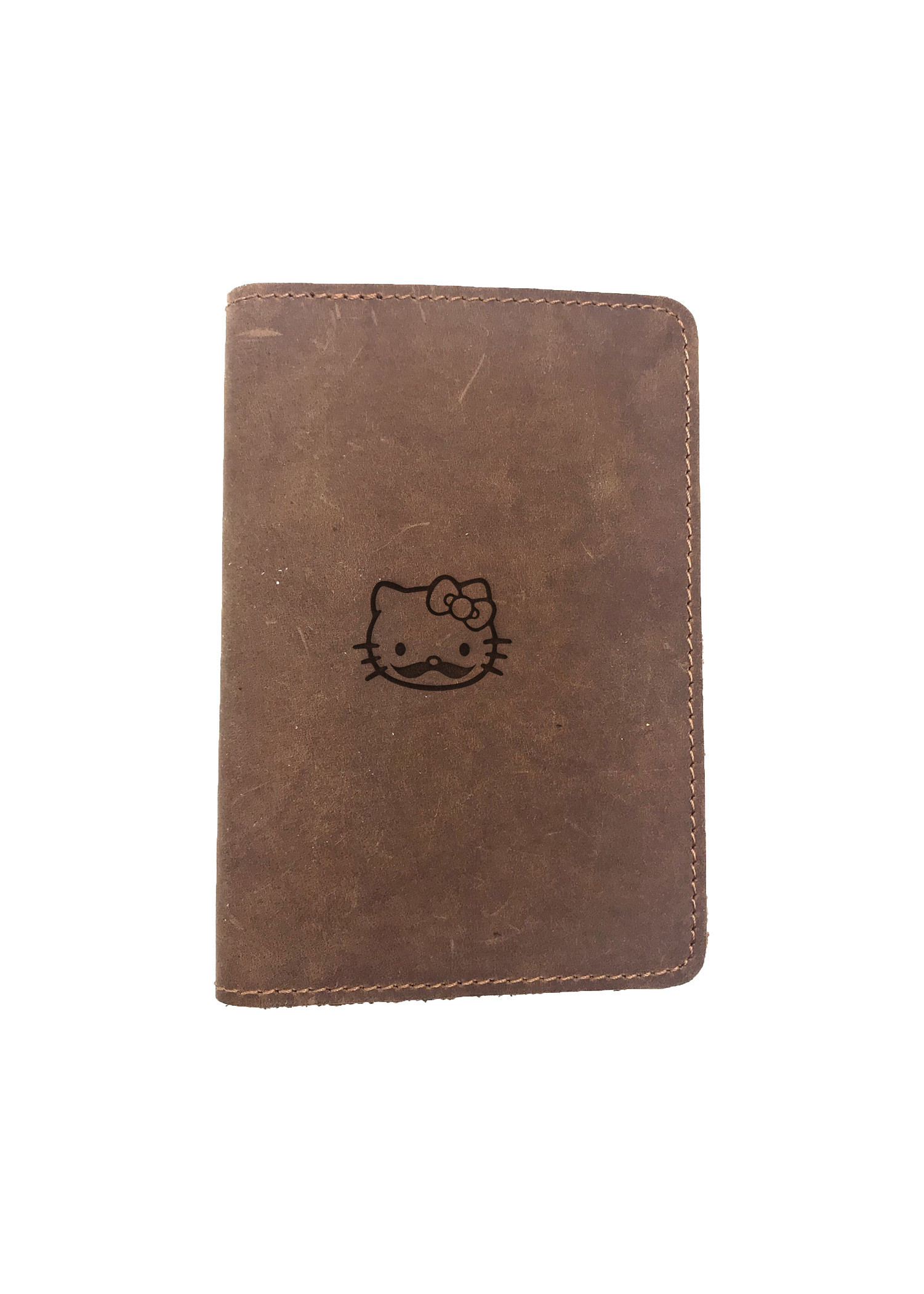 Passport Cover Bao Da Hộ Chiếu Da Sáp Khắc Hình Mèo HELLO WITH BEARD HELLO KITTY (BROWN)