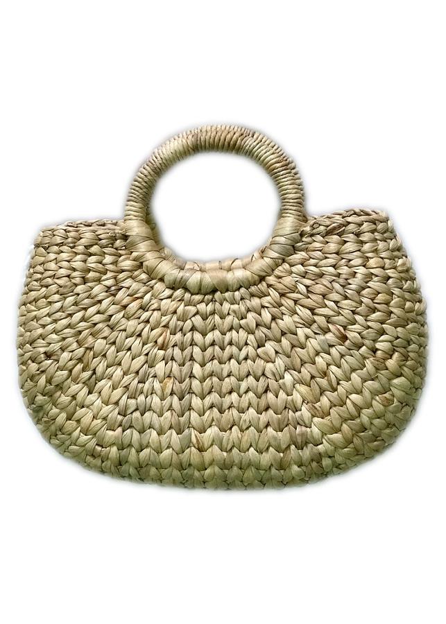 Giỏ Lục Bình Bán Nguyệt Quai Tròn, Lót Vải Cotton Mộc, Khóa Kéo