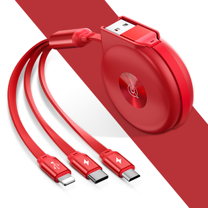 Dây cáp sạc 3 đầu Lightning, Micro USB, Type C rút gọn USAMS cực tốt, siêu bền - 2103091 , 9704660424923 , 62_13212253 , 210000 , Day-cap-sac-3-dau-Lightning-Micro-USB-Type-C-rut-gon-USAMS-cuc-tot-sieu-ben-62_13212253 , tiki.vn , Dây cáp sạc 3 đầu Lightning, Micro USB, Type C rút gọn USAMS cực tốt, siêu bền