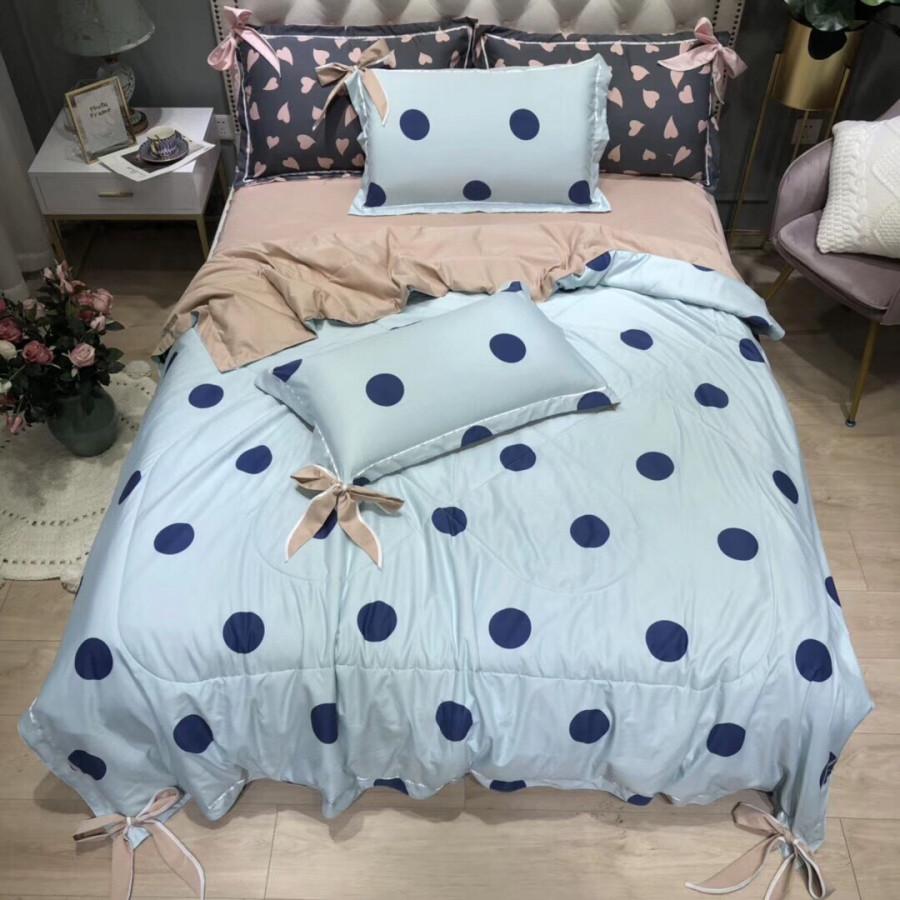 Bộ chăn ga gối hè cotton lụa Hàn CLN150