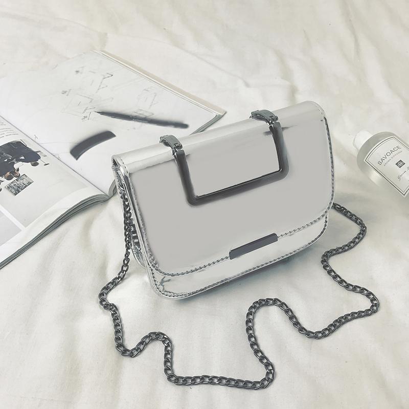 Women Crossbody Bag Patent Leather Chain Shoulder Strap Flap Small Messenger Shoulder Bag