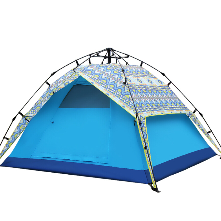 Himalayan automatic speed open tent outdoor 3-4 people wild camping leisure beach shade printing double tent