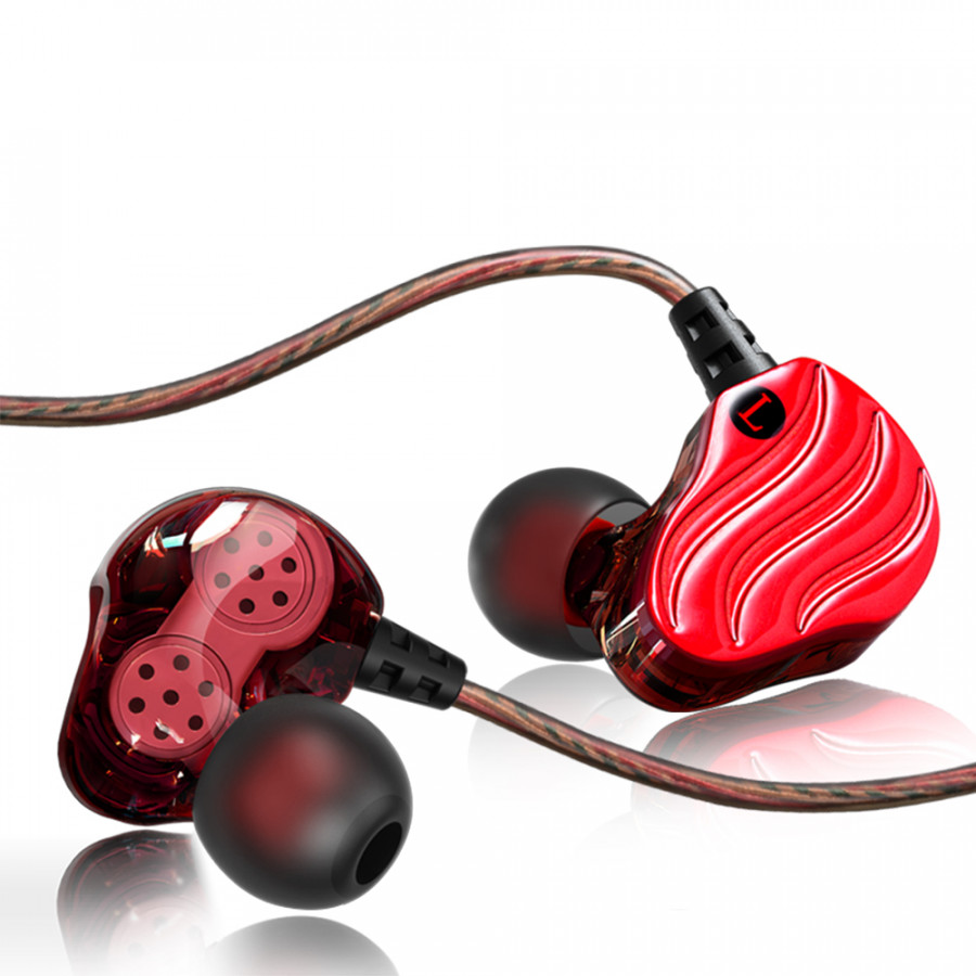 Dual Dynamic Earphone Dual Dynamic Headphone Fashion Hifi Earbud Dual Dynamic Headset 3.5Mm In Ear Noise Cancelling Stereo