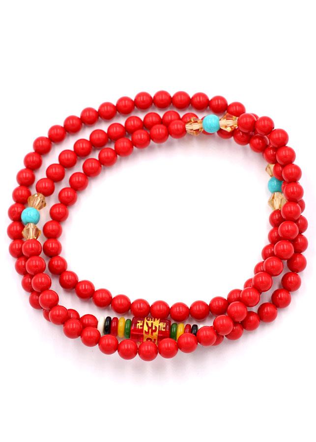 Chuỗi hạt đeo tay 108 hạt san hô đỏ VMTSHO1 6 ly - Vòng đeo tay chuỗi hạt - Tràng chuỗi niệm Phật