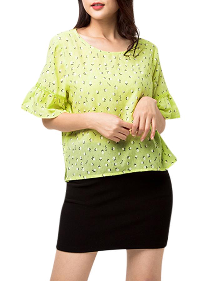 Áo Kiểu Nữ Tay Loe Màu Vàng 581 An Thủy - Vàng