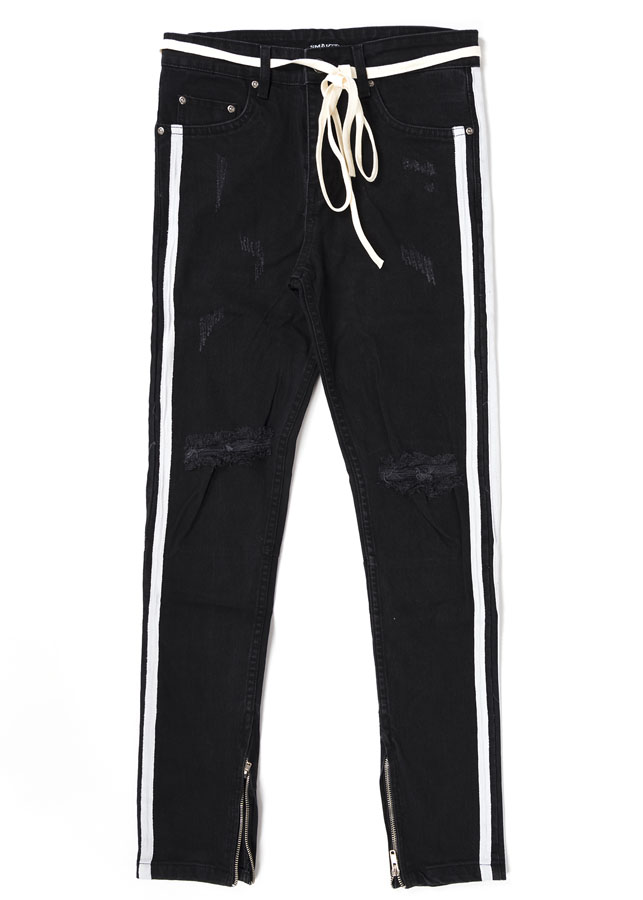 Quần Nam 2 Stripes Skinny Jeans In Black With Zips
