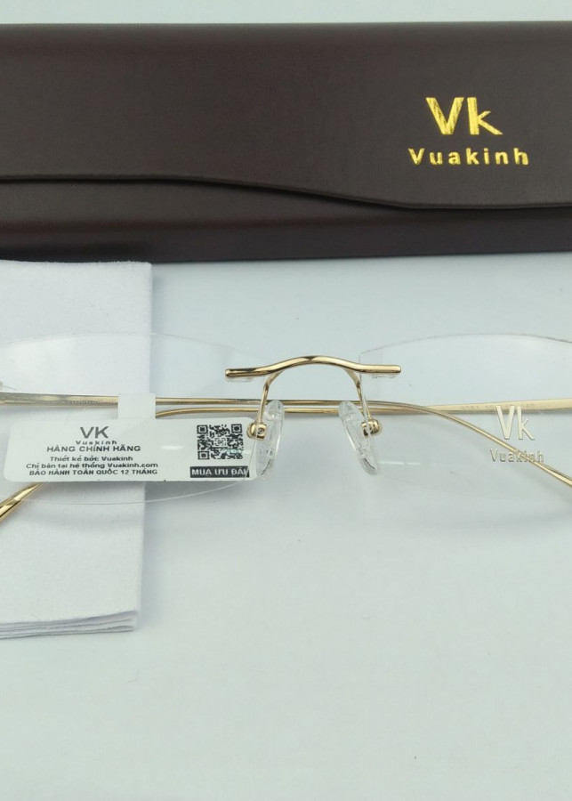 Gọng kính cận titan không viền VK mạ vàng 18k VK-9