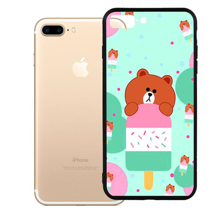 Ốp lưng viền TPU cao cấp dành cho iPhone 7 Plus - Gấu Brown 04