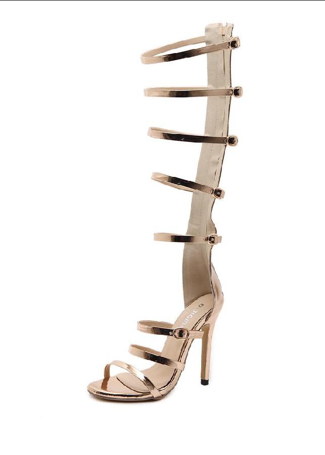 Giày sandal dây ống cao sành điệu màu vàng đồng GCC38