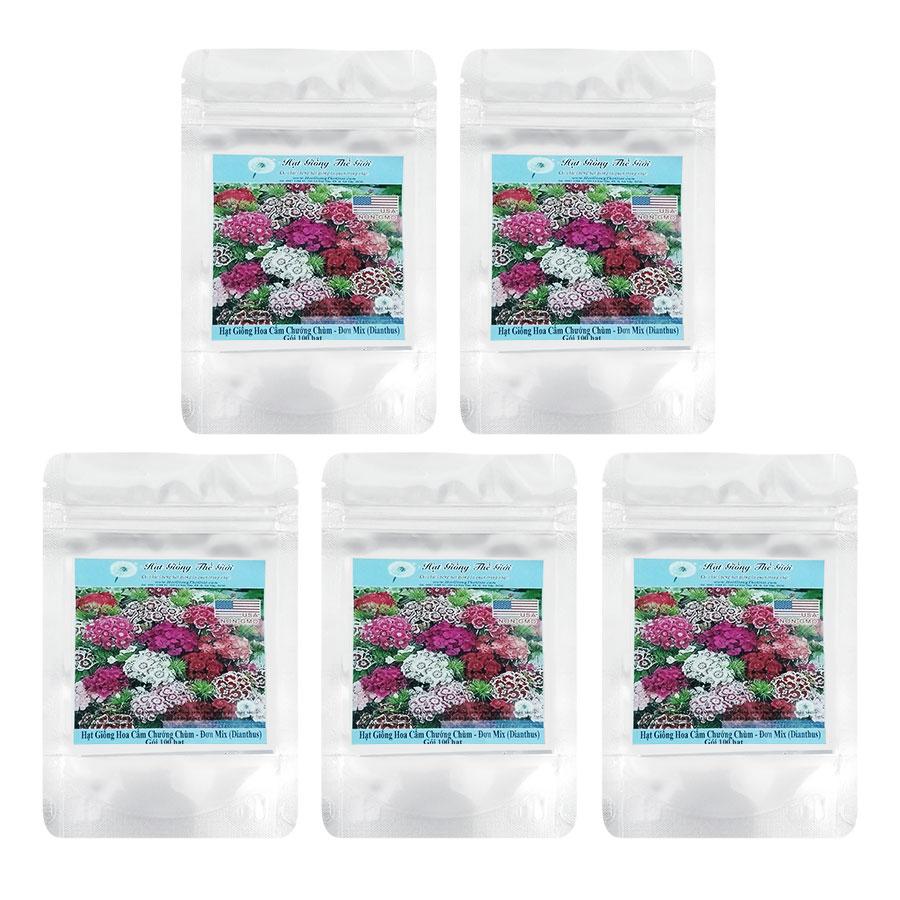 Bộ 5 Túi Hạt Giống Hoa Cẩm Chướng Chùm - Đơn Mix (Dianthus) (100 Hạt/Túi)