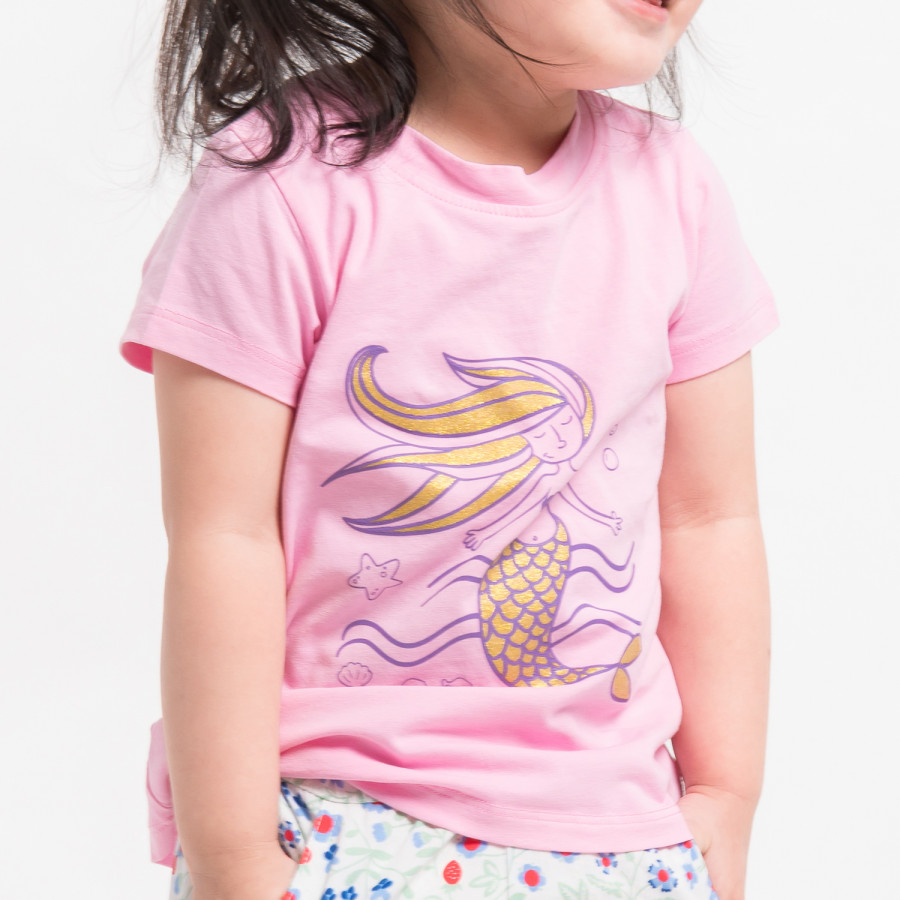 Áo phông bé gái in nàng tiên cá K