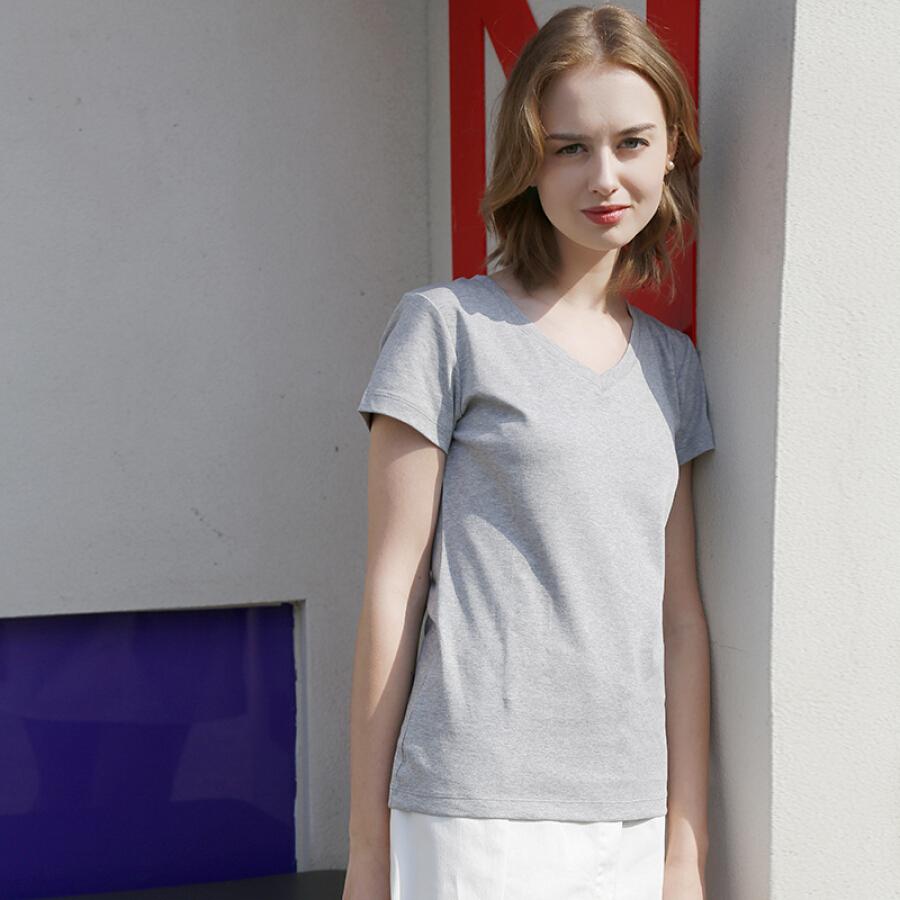 Beijing Tokyo made J.ZAO ladies short-sleeved T-shirt cotton V-neck spring and summer Slim simple new silk soft plush cotton gray XL