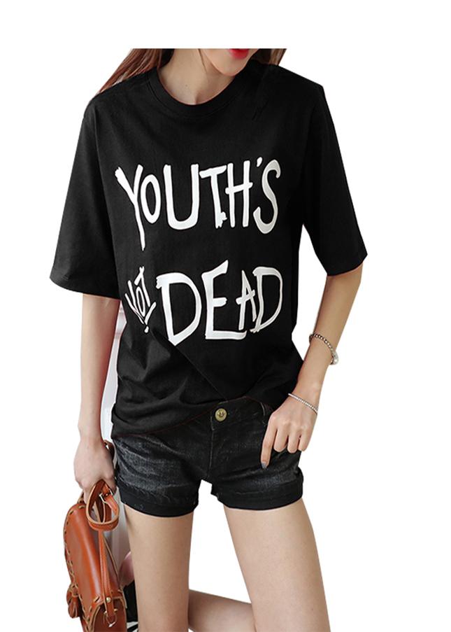 Áo thun nữ youth dead màu đen d325 thương hiệu Td