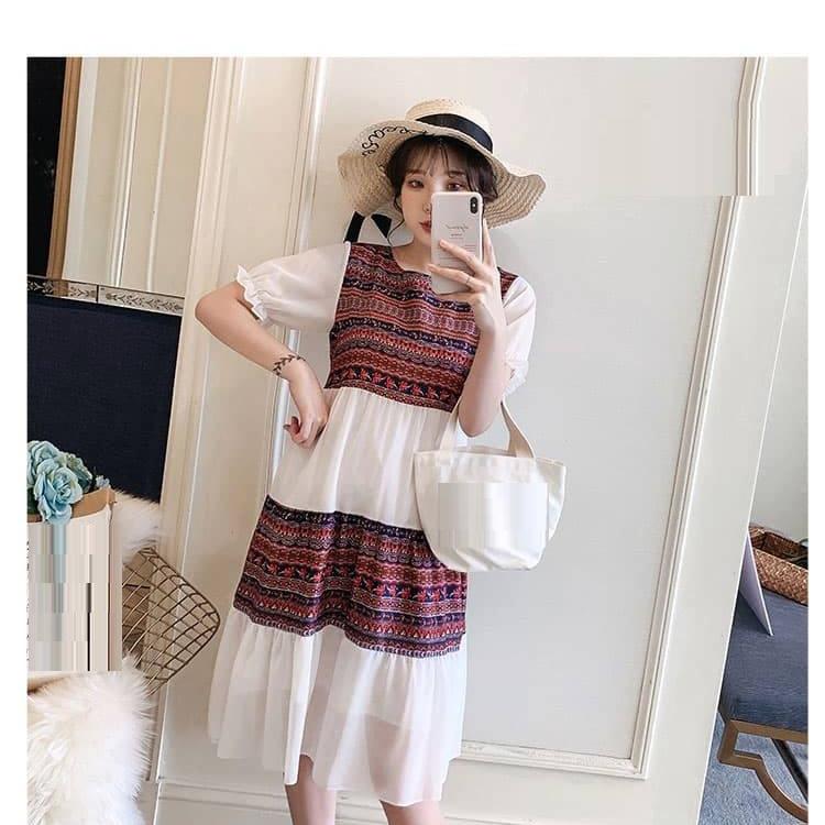 Đầm Bầu Voan Thổ Cẩm cao cấp  mát mẻ, mặc đi làm, đi chơi đều xinh TN390