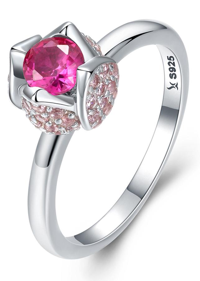 Nhẫn Bạc Nữ Mirason Silver  Gems 925 Búp Sen Hồng
